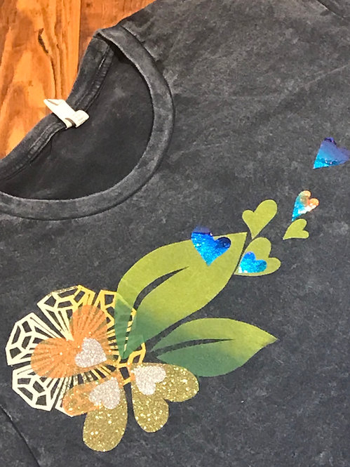 Size xL Sparkly mango flower with leaves & holographic blue hearts