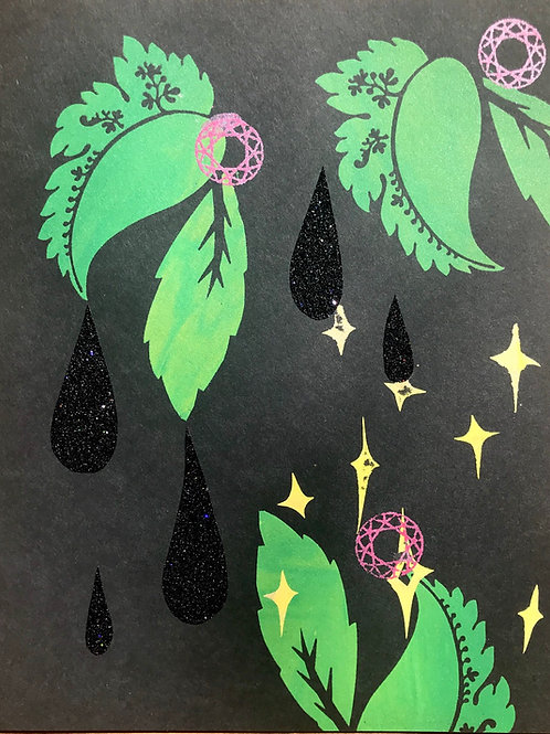 """""""Leaves Dripping Sparkles in the Night""""; Unique Screen Print on Paper 8.5""""x11"""""""
