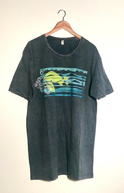 Size 3XL Aqua blue seascape and silver gemstones on stonewash grey T