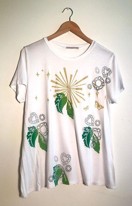 Size L Art to wear screenprinted starburst & leaf tshirt