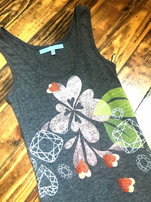 Peach bloom & glittery orange hearts on charchol tank