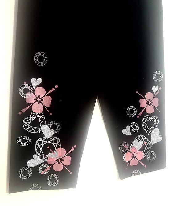 Size M Navy Peach Blossom & Gemstone Yoga/Loungewear Pants