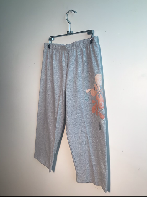 Size XL Grey Cropped Lounge Pants with Peachbloom Embellishments