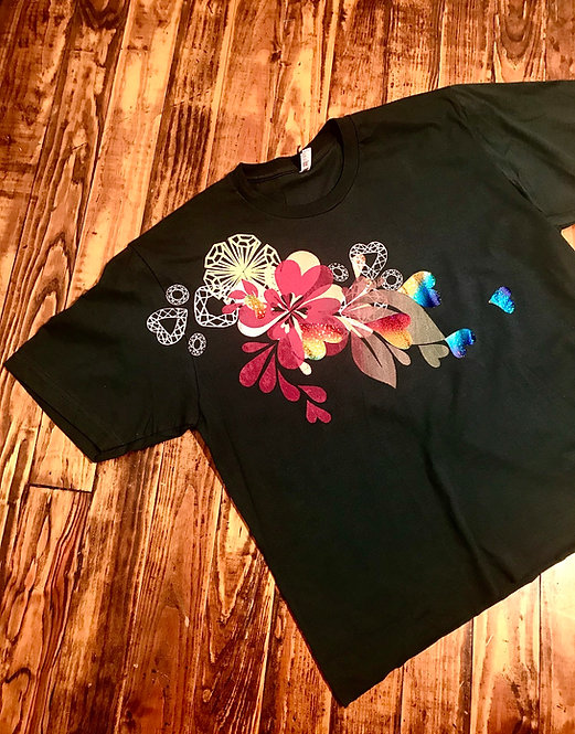 Size XL Red pink heart splash with rainbow hologram hearts on black cropped T