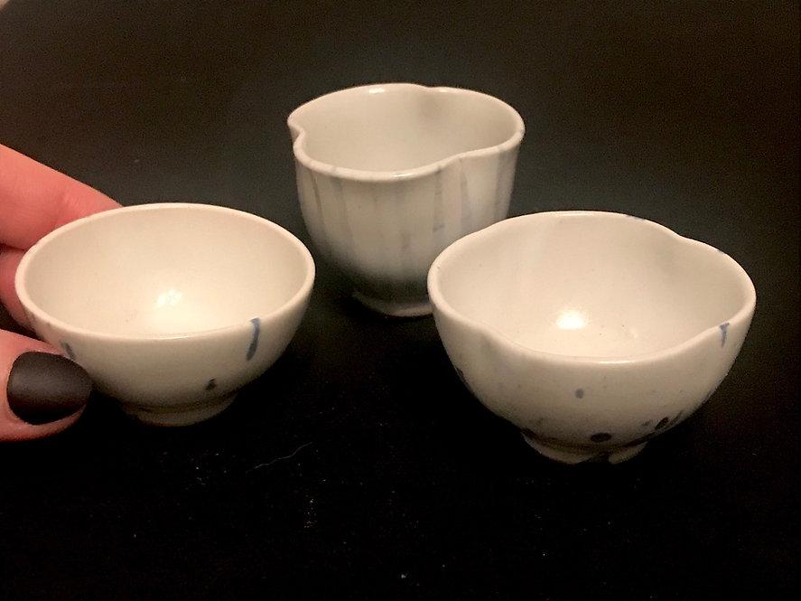 Set of 3 Tiny Porcelain Vessels with light Cobalt Splatter Pattern