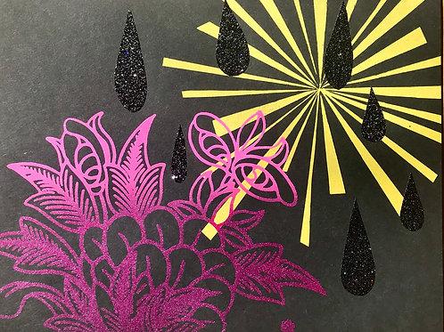 """""""Tibetan Flowering in Starlit Nightlight""""; Unique Screen Print on Paper 8""""x11"""","""
