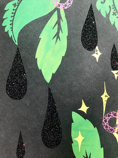 """""""Raindrops in the Night Dripping from Leaves""""; Unique Screen Print on Paper 8""""x1"""