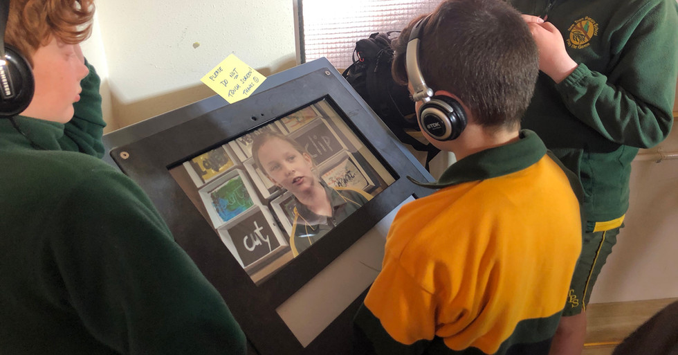 enjoying touch screen New Town Primary visit