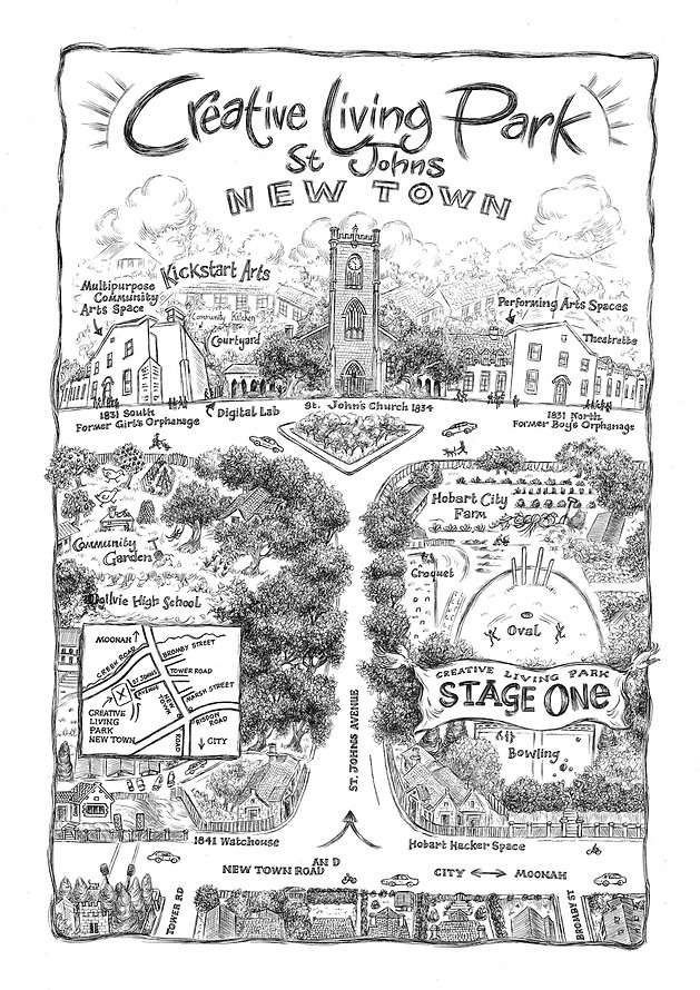 Drawing of the Creative Living Park by Coral Tulloch