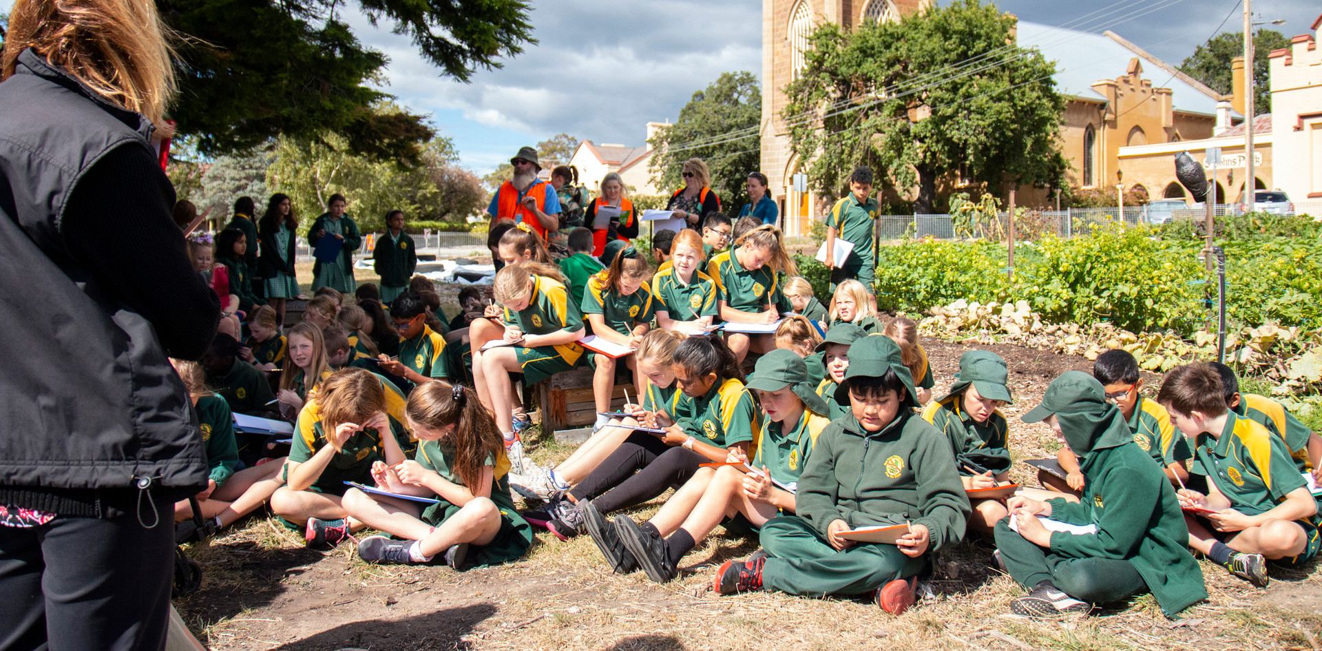 Children seated in Hobart City Farm