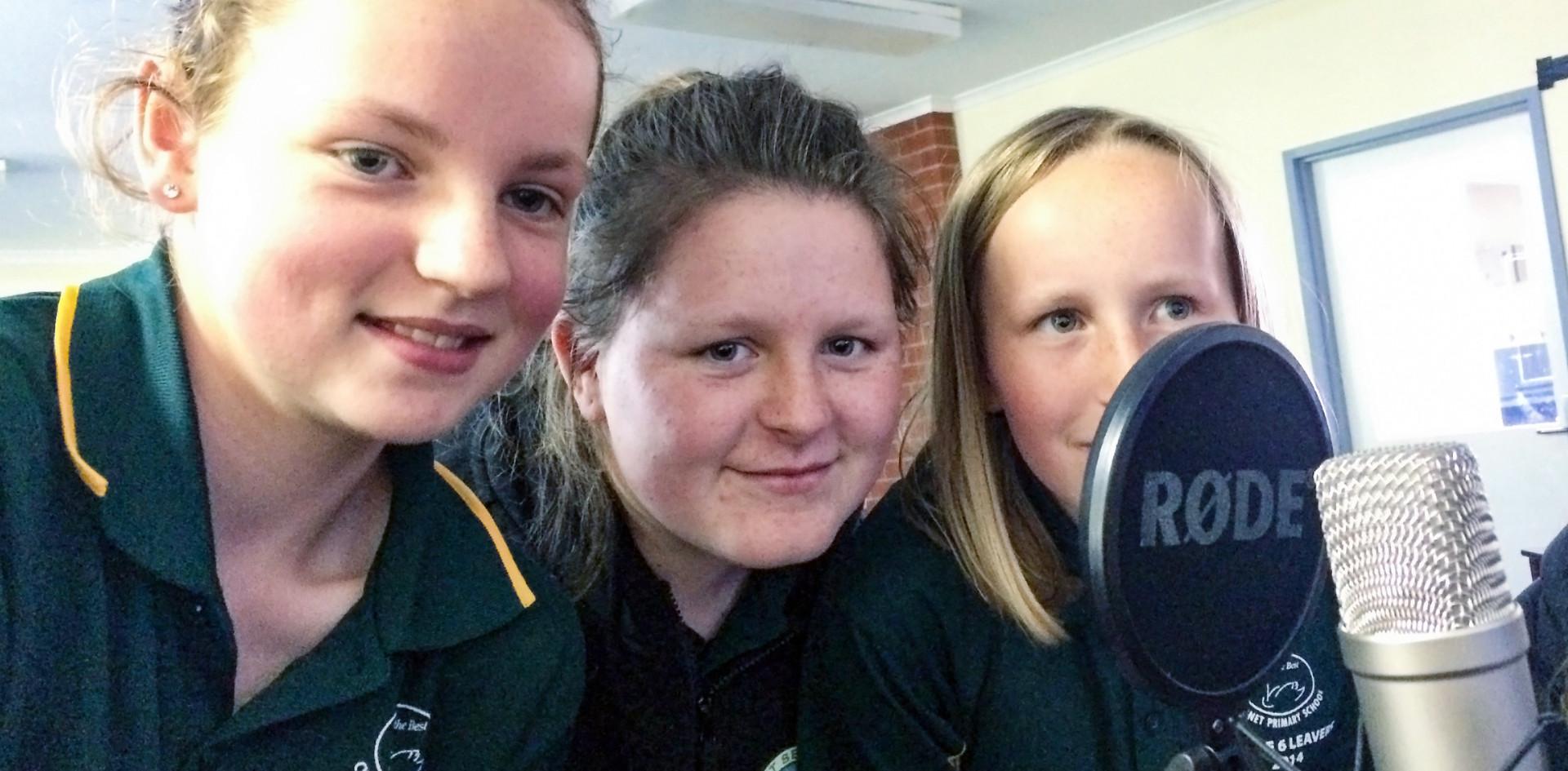 Cygnet school girls telling their story.
