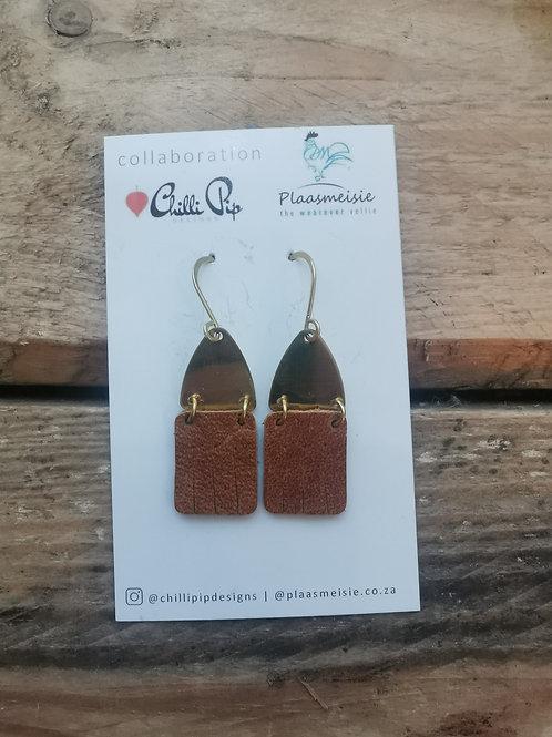 Leather Earrings - Brown