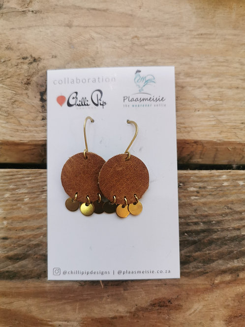 Leather Earrings - Brown