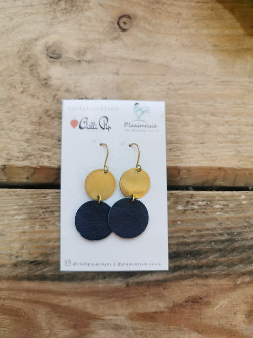 Leather Earrings - Navy