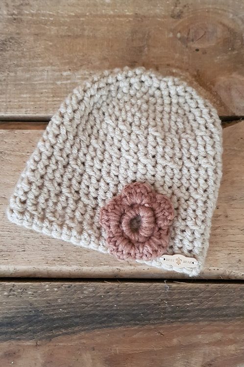 Crochet Beanie Cream (6-24 mths)
