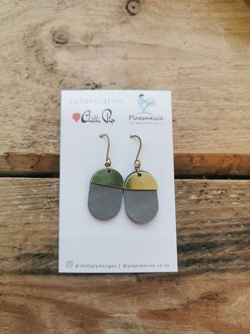 Leather Earrings - Grey
