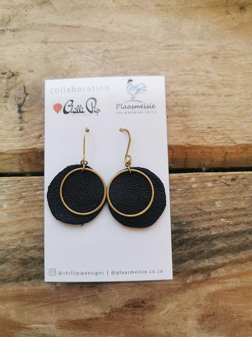 Leather Earrings - Black