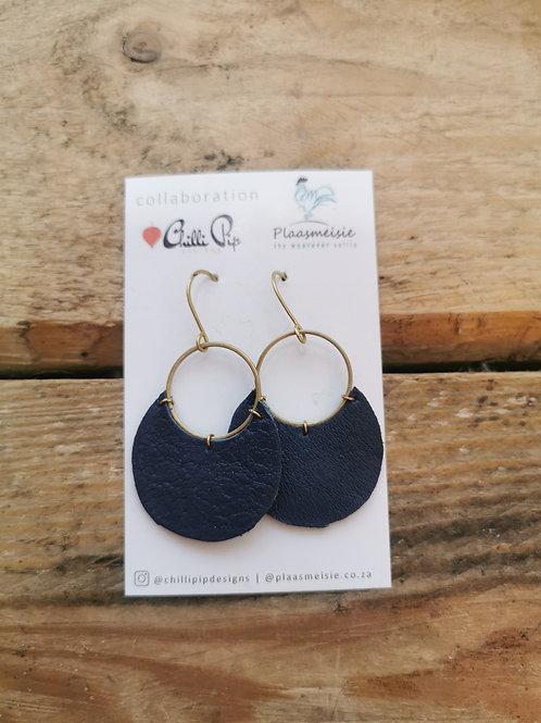 Leather Earrings - Navy