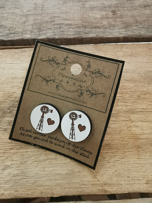 Earrings - Heart and Windmill White