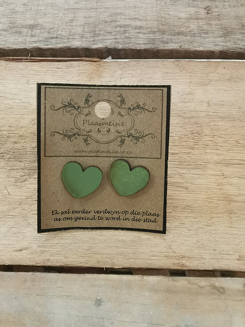 Earrings - Wooden Heart Green