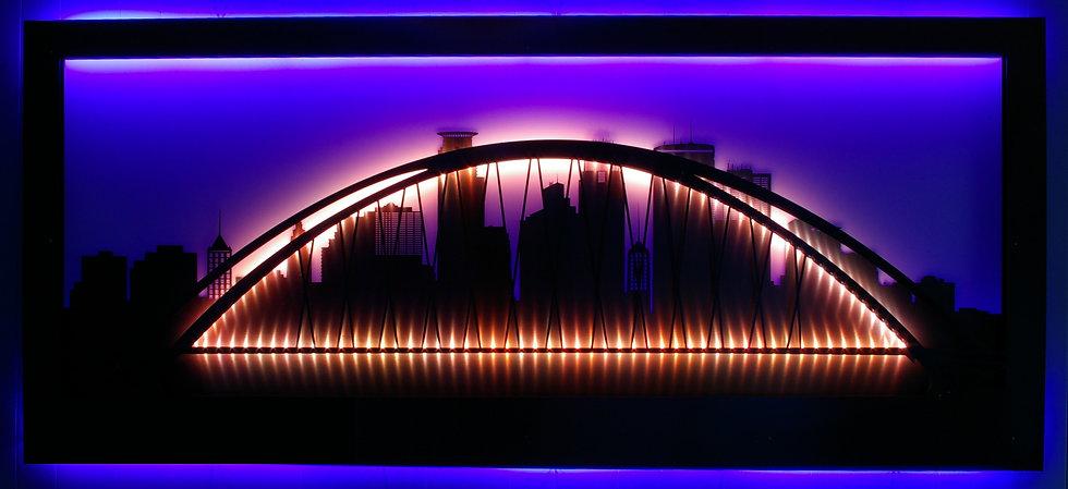 Twin Cities Skyline LED and Steel Light Display