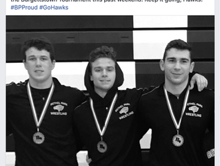 Bethel Park High School Wrestling Team, has three wrestlers place at the Burgettstown Tournament