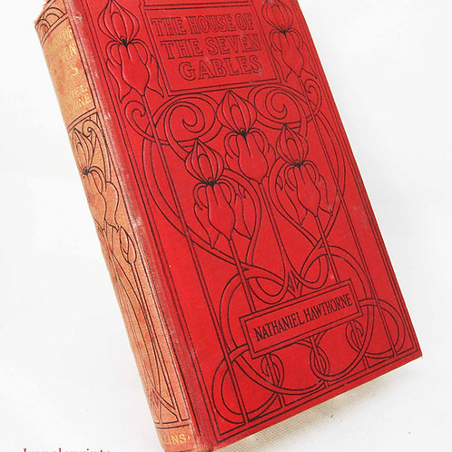 The House of Seven Gables 1910s Illustrated colour book novel red book school bo