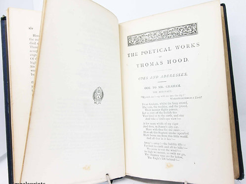 Antique Poetry book Hood Picture book 1800s
