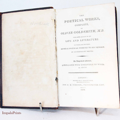 Poetical works of Goldsmith 1804 Vintage Rare Book Gift item poet Hardback Poets