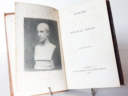 1859 Thomas Hood Poems Antique hardback Poetical works Gifts Poetry Book Vintage