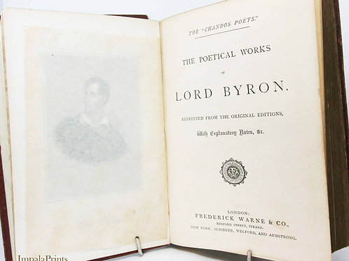 Byron antique Poetical Works Vintage illustrated hardback Poetry Book Vint