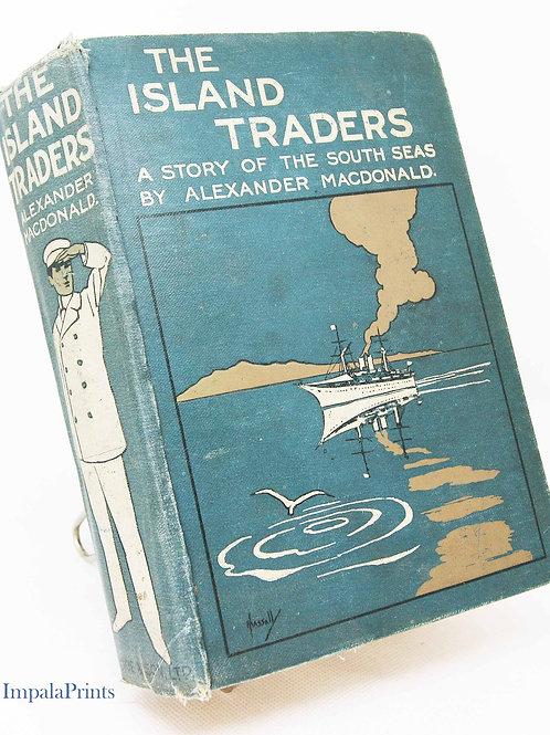Island Traders Antique  1920s Vintage Hardback green adventure exploration Trav