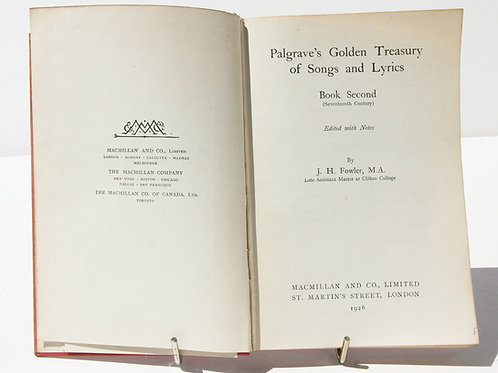 The Golden Treasury Of Songs and Lyrics, Poems 1920s