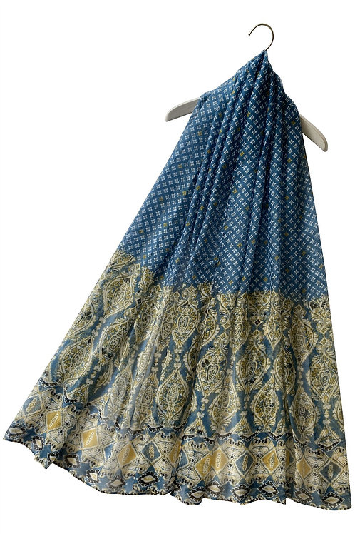 Moroccan Style Blue Print Scarf