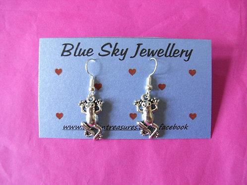 Blue Sky Frog Earrings