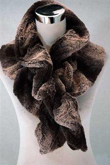 Brown Faux Fur Two Tone Pull Through Scarf
