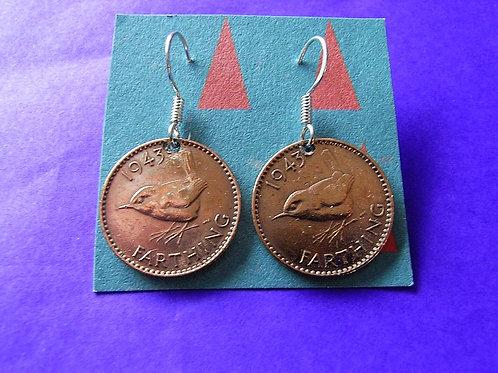 1943 Farthing Coin Earrings