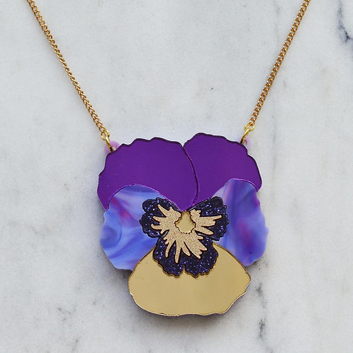 Esoteric Textured Purple Pansy Necklace