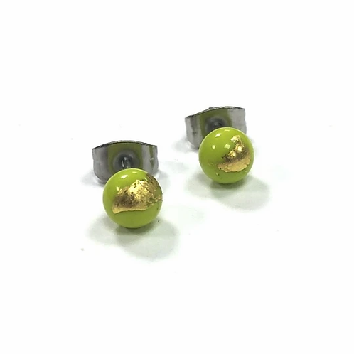 Helen Chalmers Lime/Gold Mini Stud Earrings  (40)
