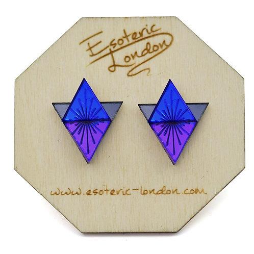 Esoteric Vivid Blue & Purple Sunburst Earrings