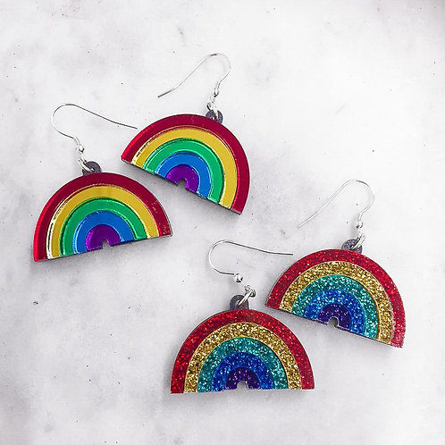 Rainbow Mirrored Dangle Earrings