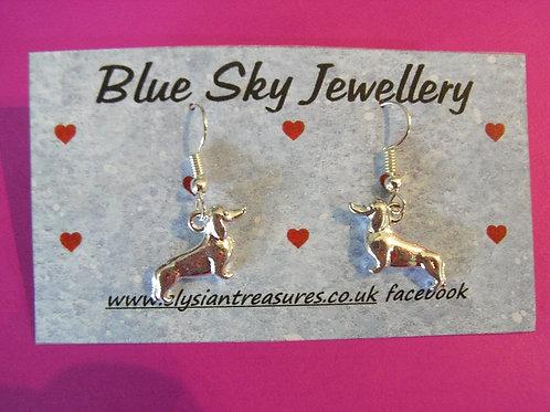 Blue Sky Sausage Dog Earrings