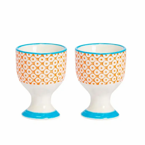 Orange Floral Hand Printed Egg Cup