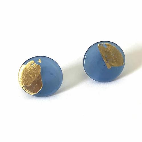 Helen Chalmers Steel Blue/Gold Button Studs (31)