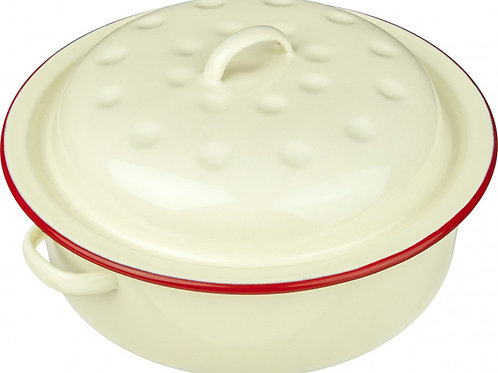 Falcon Red and Cream Round Enamel Roaster