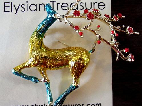 Gold Reindeer Brooch
