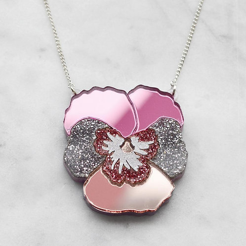 Esoteric Pink Textured Pansy Necklace