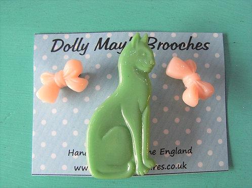 Dolly May Green Cat Brooch