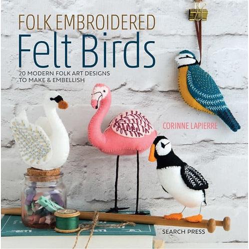 Folk Embroidered Felt Bird Designs - Paperback