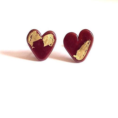 Helen Chalmers Burgundy Heart Earrings (Design 26)